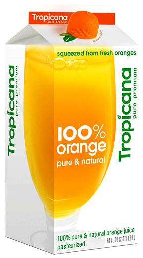 Carton of Tropicana orange juice
